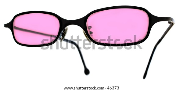 Pair of pink glasses for the optimist