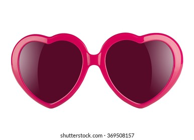 A pair of pink heart shaped sun glasses with violet lenses isolated on white background  - Shutterstock ID 369508157