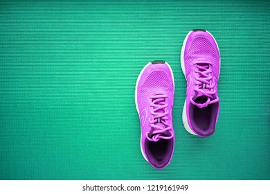 Pair of pink running sneakers for woman on a blue background. Top view