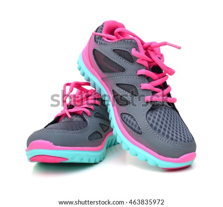6fce376f84922 Pair Pink Sport Shoes On White Stock Photo (Edit Now) 463835972 ...