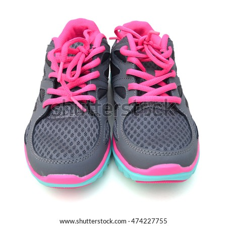 3fde06ded2c67 Pair Pink Sport Shoes On White Stock Photo (Edit Now) 474227755 ...