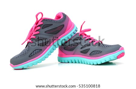 35bb4b363b641 Pair Pink Sport Shoes On White Stock Photo (Edit Now) 535100818 ...