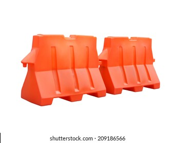Pair of plastic barriers blocking the road isolated on white background with clipping path