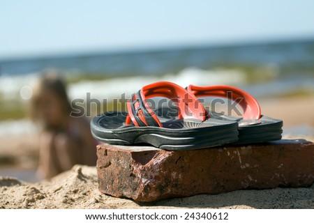 e572debe9 Pair Plastic Beach Slippers Seashore Stock Photo (Edit Now) 24340612 ...