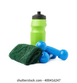 Pair of Plastic coated dumbells isolated over the white background