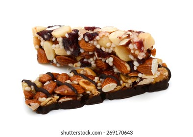 a pair of protein bars on white background
