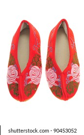A Pair Of Red Chinese Embroidery Shoes