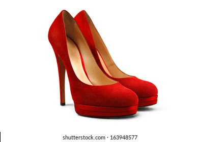 A pair of red female shoes on a white background.