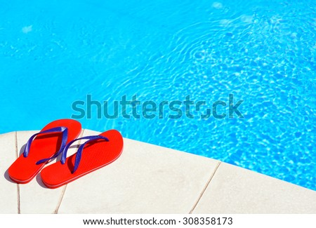 8facb7d34 Pair Red Flipflops On Swimming Pool Stock Photo (Edit Now) 308358173 ...