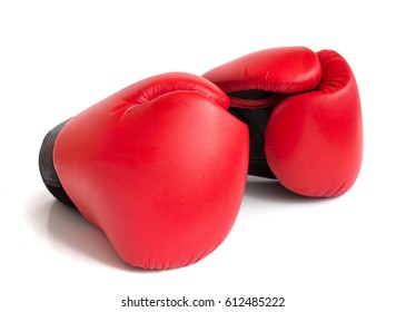 A pair of red gloves for boxing on a white background.