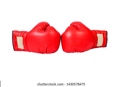 Pair of red leather boxing gloves or mitt isolated on white   background.