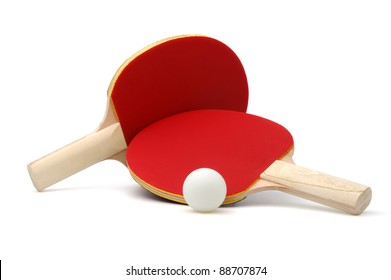 Pair of red ping-pong rackets and white ball, isolated on white background