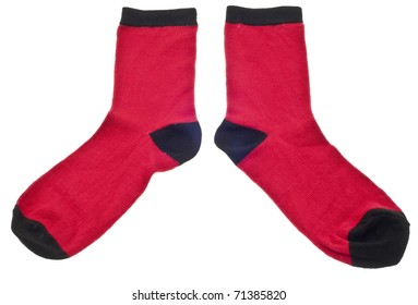 Pair of Red Socks Isolated on White with a Clipping Path.