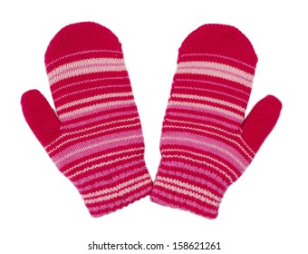 pair of red striped mittens. Isolate on white.