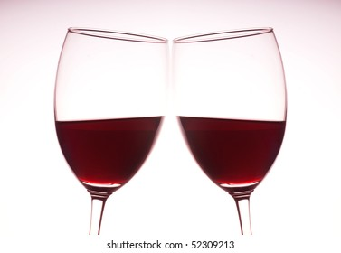 pair of red wine glass