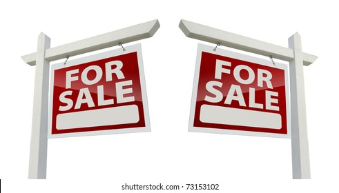 Pair of Right and Left Facing For Sale Real Estate Signs Isolated on a White Background with Clipping Paths.