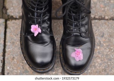 A pair of rough black lace-up shoes stand on the concrete floor, on each shoe is a pink violet flower, a symbol of the juxtaposition of roughness and tenderness, love will save the world. Side view.