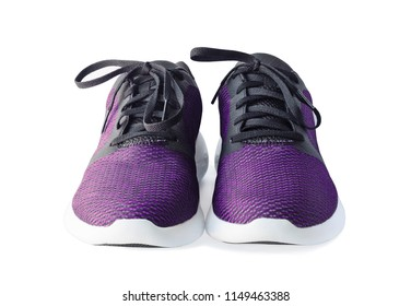 Pair of running shoes isolated on white background. Front view of sport trainers