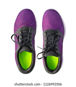 Pair of running violet sneakers isolated on white background. Top view of sport shoes