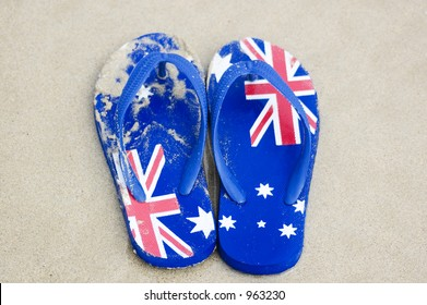 A pair of sandals, known as 'thongs' in Australia, decorated with the Australian flag.