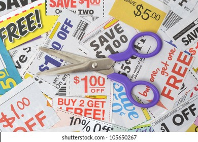 pair of scissors on grocery coupons
