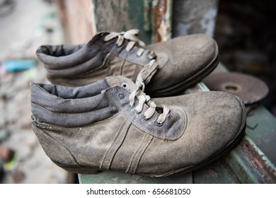 A pair of scrap shoes,Abandoned factory in Beijing, Iron and steel plant