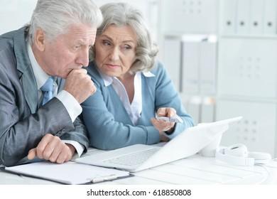 Pair of senior businesspeople working