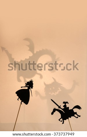 Pair Shadow Puppets Monsters Shadows On Stock Photo (Edit