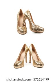Pair of shining golden high-heeled footwear shoes, composition isolated over the white background, set of two different foreshortenings