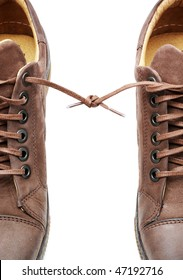 Pair of shoes bound together. Element of design.