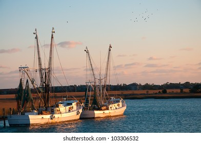 A Pair of Shrimp Boats out on the Saltwater Creek
