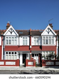 A pair of small Edwardian period townhouses in a terrace built in 1913 at Hammersmith, west London, UK.