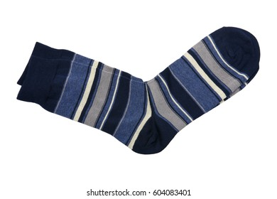 Pair of socks with blue, white, black and grey stripes isolated on white background. Close up, high resolution