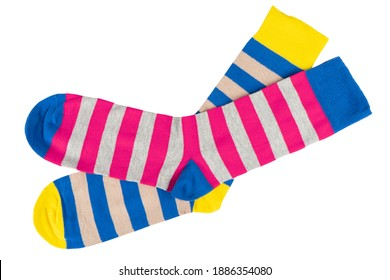 Pair socks with different lines isolated on white background. Colorful socks son white background. Colored socks on the leg isolated on white background