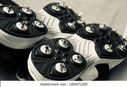 A pair of sports shoes with metallic spikes unique photo