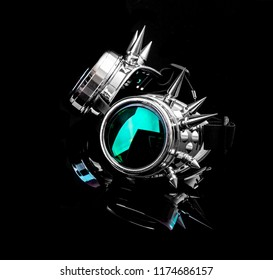Pair of Steam Punk goggles on a black background