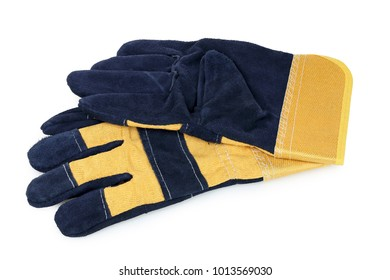 pair of suede protective gloves isolated on white