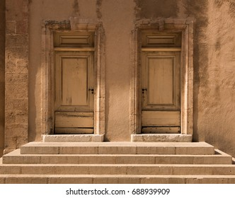 Pair of Symmetrical Historical Wooden Doors with Stone Steps, The Chapel of la Vieille Charite, Marseille, France