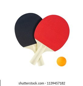 Pair of tennis table rackets for ping pong game. Sport equipment isolated on white background