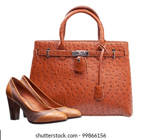 Pair of terracotta women shoes and handbag over white