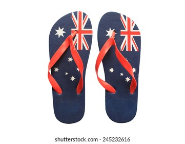 5ea640e724d5 Pair of thongs with the Australian flag on them