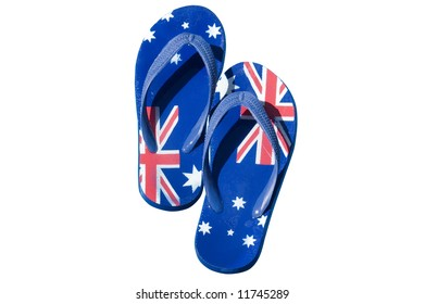 A pair of thongs decorated with the Australian flag and isolated on white.