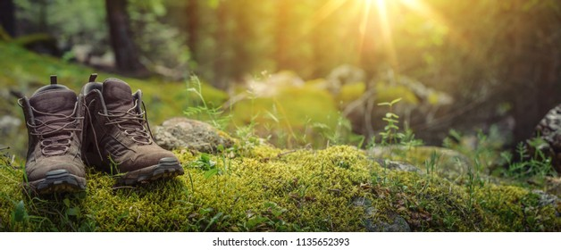 Pair of touristic boots on moss in forest
