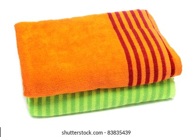 a pair of towels on a white background