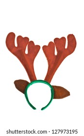 A pair of toy reindeer horns isolated on white