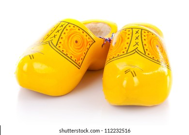 pair of traditional netherlands yellow shoes on white background