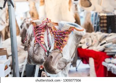 A pair of traditional reindeer skin boots at Sami Market. Jokkmokk, Sweden