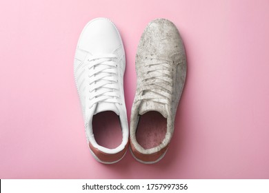 Pair of trendy shoes before and after cleaning on pink background, top view - Shutterstock ID 1757997356