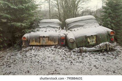 A pair of two abandoned cars, covered with rust and mold, stands in the winter forest, one machine leans against the other, the landscape.