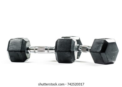 Pair of two black dumbbells isolated on white background.